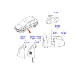 Зеркало правое механическое Hyundai Getz (2002-2011)