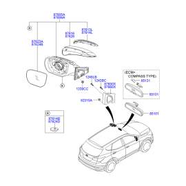 Элемент зеркала электрического правый Hyundai Santa Fe 3 (2012-н.в.)