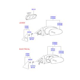 Элемент зеркала механического левый Hyundai Accent (2001-2006)