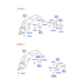 Брызговик задний левый Hyundai Accent (2001-2006)