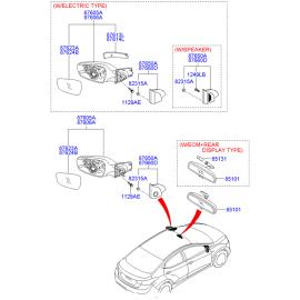 Элемент зеркала электрического левый Hyundai Solaris (2010-н.в.)