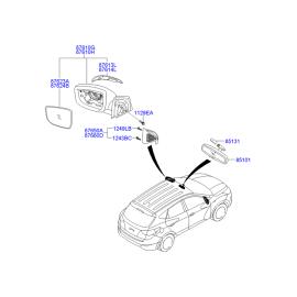 Элемент зеркала электрического правый Hyundai ix35 (2009-2015)