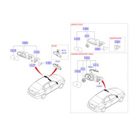 Элемент зеркала электрического левый Hyundai i30 I (2007-2012)