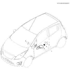 Элемент зеркала левый Chevrolet Spark M300 (2010-2015)