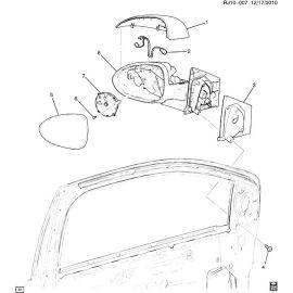 Зеркало заднего вида с обогревом правое в сборе Chevrolet Aveo T300 (2012-2017)