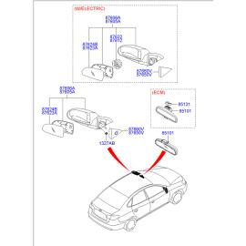 Элемент зеркала левый Hyundai Elantra 4 (2006-2010)