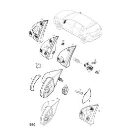 Элемент зеркала правый Opel Astra H (2004-2015)