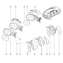 Элемент зеркала механического левый Renault Duster (2011-н.в.)