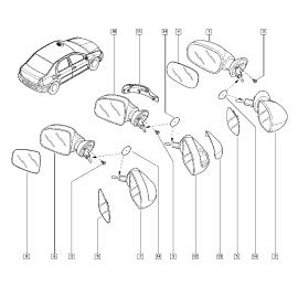 Зеркало правое механическое Renault Sandero 1 (2009-2014)