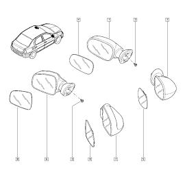 Элемент зеркала механического правый Renault Sandero 1 (2009-2014)