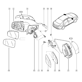 Зеркало левое корпус Renault Fluence (2010-н.в.)