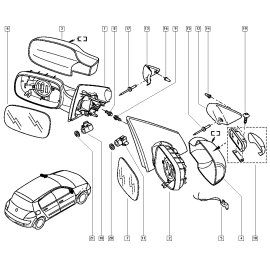 Зеркало правое корпус Renault Megane 2 (2003-2009)