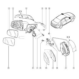 Элемент зеркала левый Renault Megane 3 (2009-2014)