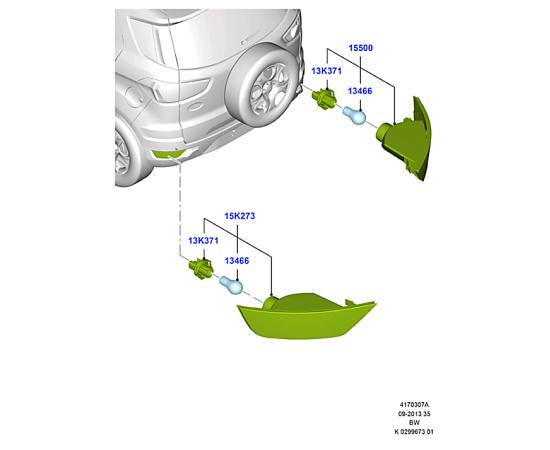 Фонарь противотуманный левый Ford Kuga 2 (2013-н.в.)