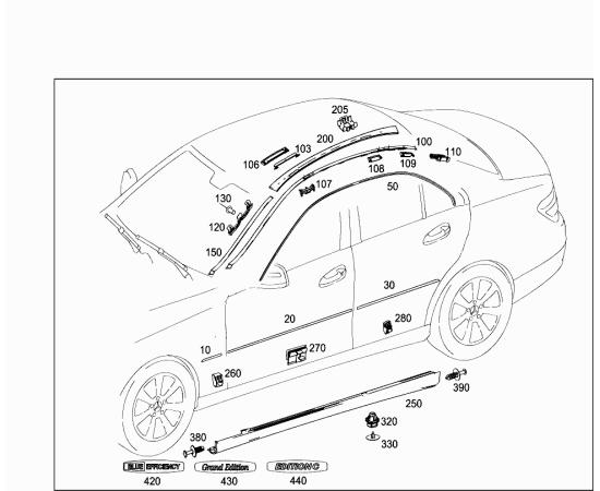 Молдинг двери задней левый Mercedes C-klass W204 (2007-2015)