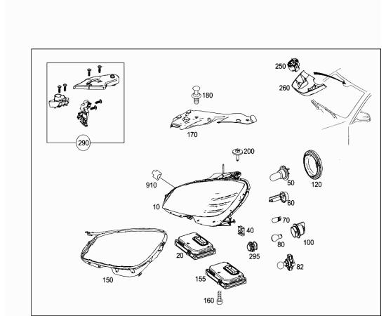 Фара дневного света правая, чёрный корпус Mercedes C-klass W204 (2011-2015)