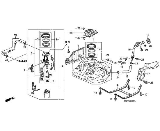Фильтр топливный Honda Civic 4D (2006-2012)