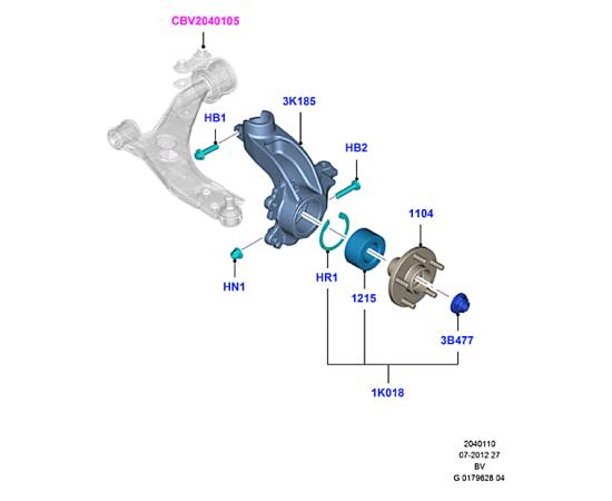 Кулак поворотный (цапфа) передний правый Ford Kuga 1 (2008-2013)