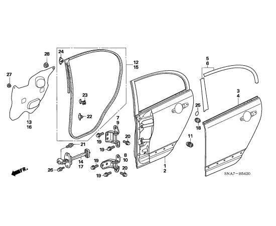 Дверь задняя правая Honda Civic 4D (2006-2012)