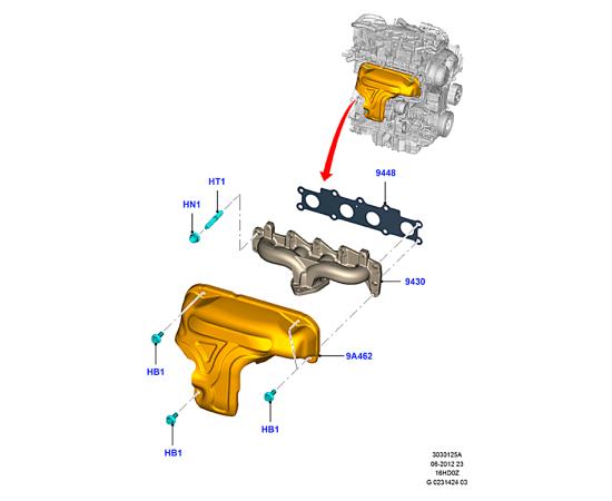 Прокладка выпускного коллектора Ford Kuga 2 (2013-н.в.)