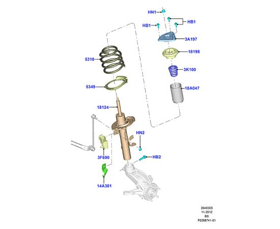 Пружина передняя Ford Kuga 2 (2013-н.в.)