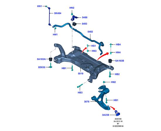 Стабилизатор подвески передний в сборе Ford Kuga 2 (2013-н.в.)