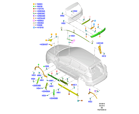 Молдинг арки колеса переднего левый Ford Kuga 2 (2013-н.в.)