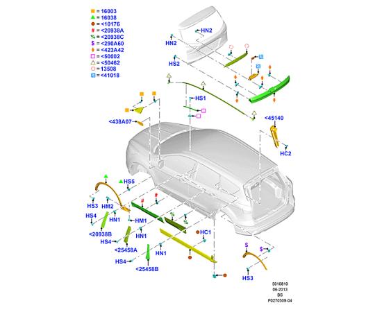 Молдинг задней двери правый Ford Kuga 2 (2013-н.в.)