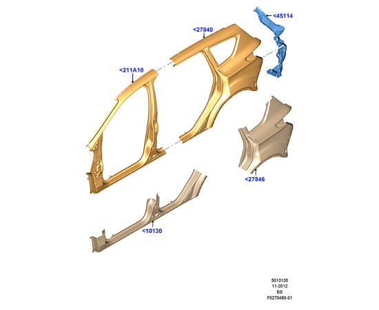 Порог левый Ford Kuga 2 (2013-н.в.)