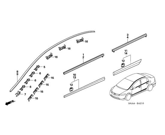 Молдинг крыши правый Honda Civic 4D (2006-2012)