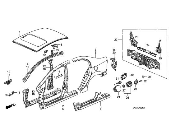 Порог правый Honda Civic 4D (2006-2012)