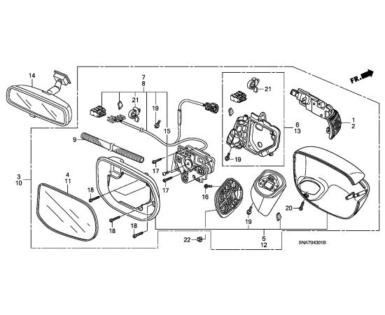 Зеркало правое корпус Honda Civic 4D (2006-2012)