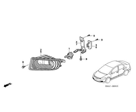 Фара противотуманная (ПТФ) правая Honda Civic 4D (2006-2009)