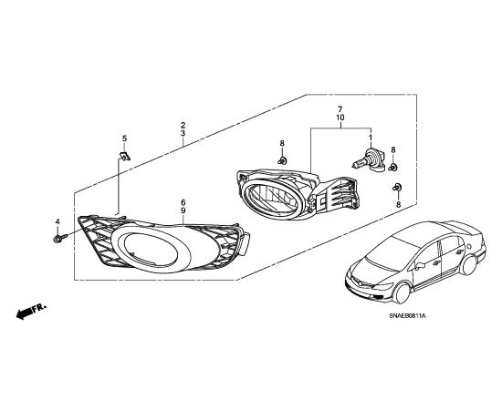 Фара противотуманная (ПТФ) правая Honda Civic 4D (2009-2012)