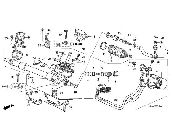 Рейка рулевая в сборе Honda Civic 4D (2006-2012)