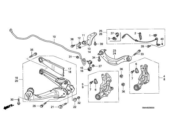Рычаг задней подвески продольный левый Honda Civic 4D (2006-2012)