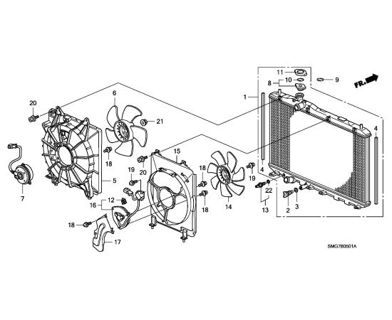 Диффузор радиатора охлаждения Honda Civic 5D (2006-2012)