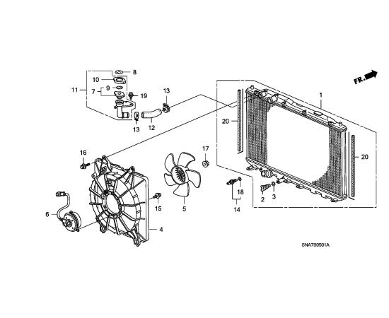 Крыльчатка вентилятора радиатора охлаждения Honda Civic 5D (2006-2012)