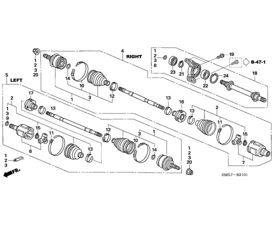 Привод передний в сборе левый Honda Civic 5D (2006-2012)