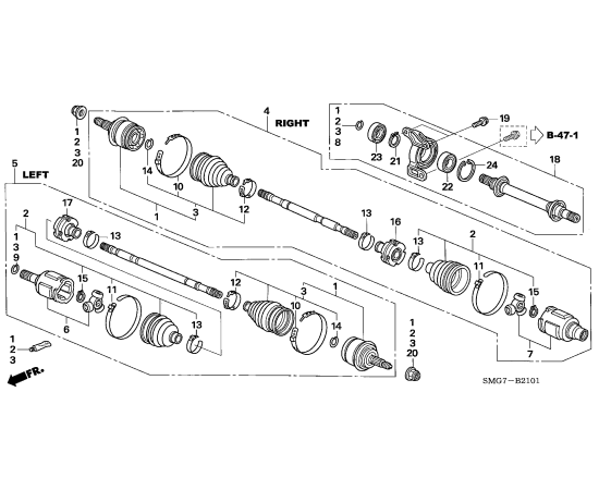 Привод передний в сборе правый Honda Civic 5D (2006-2012)