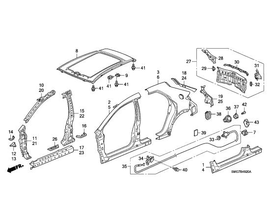 Порог левый Honda Civic 5D (2006-2012)