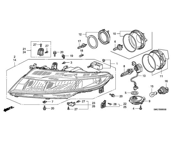 Фара правая (галоген) Honda Civic 5D (2006-2012)