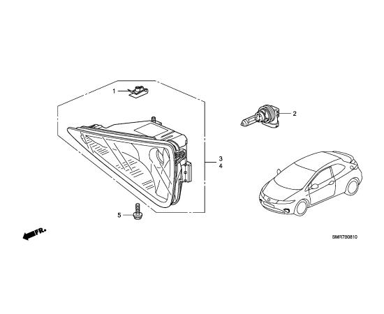 Фара противотуманная (ПТФ) левая Honda Civic 5D (2006-2012)