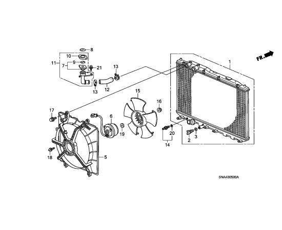 Диффузор радиатора охлаждения Honda Civic 4D (2006-2012)