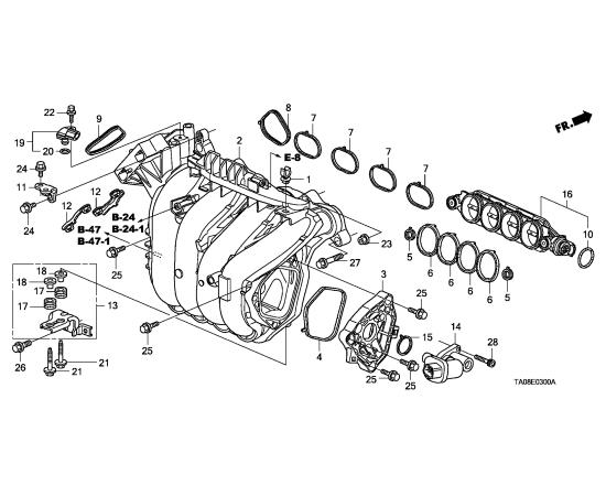 Прокладка впускного коллектора Honda Civic 4D (2006-2012)