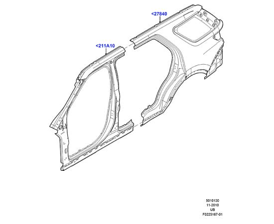 Боковина кузова задняя левая Ford Explorer 5 (2011-н.в.)