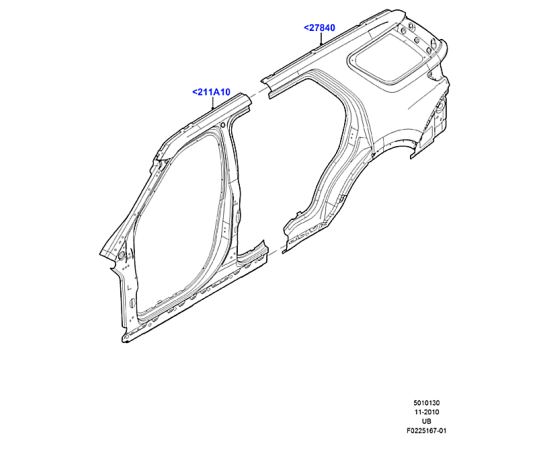 Боковина кузова задняя правая Ford Explorer 5 (2011-н.в.)