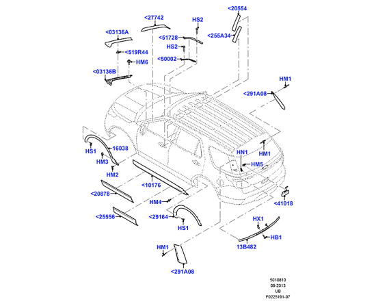 Молдинг задней двери левый Ford Explorer 5 (2011-н.в.)