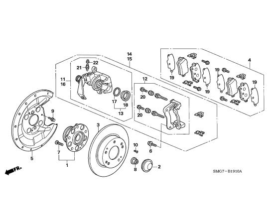Скоба суппорта заднего Honda Civic 5D (2006-2012)