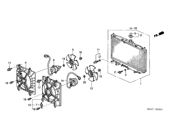 Диффузор вентилятора радиатора охлаждения Honda Accord 7 (2002-2007)